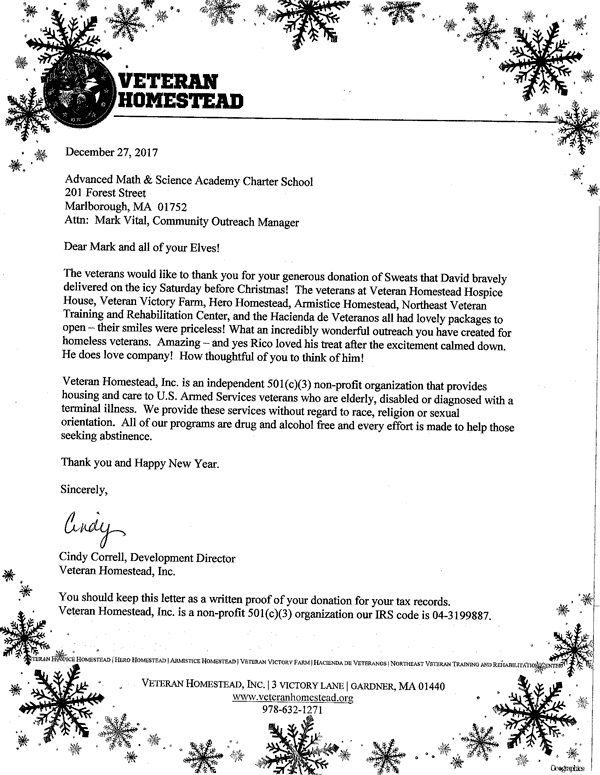 thank you note from veteran homestead